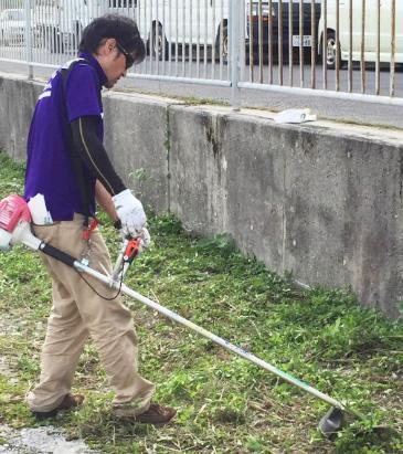 伸びた草を草刈り機を使って取り除いています。